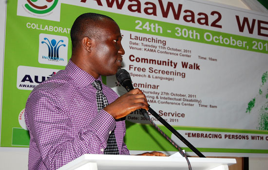 Project Manager opening the launch of the Awaawaa2 Week Celebration on 11th October 2011